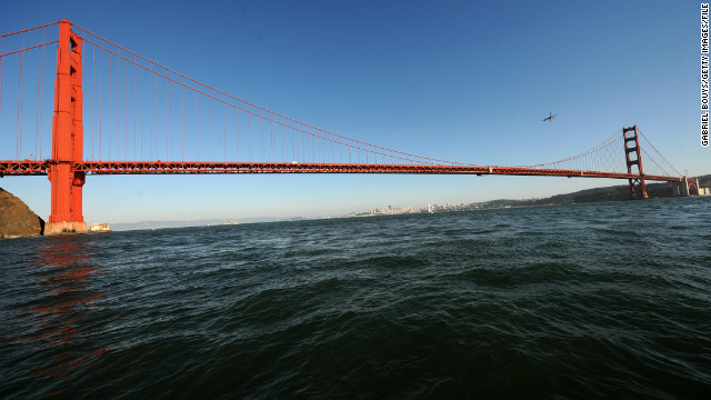 The Golden Gate Bridge connects the northern tip of the San Francisco Peninsula to Marin County.
