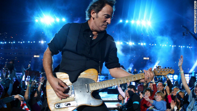 Bruce Springsteen and the E Street Band took the stage in 2009, the same year he released his 16th studio album, &quot;Working on a Dream.&quot; He urged viewers to &quot;put your chicken fingers down and turn the television set all the way up,&quot; before launching into hard-rocking hits such as &quot;Born to Run&quot; and &quot;Tenth Avenue Freeze-Out.&quot;