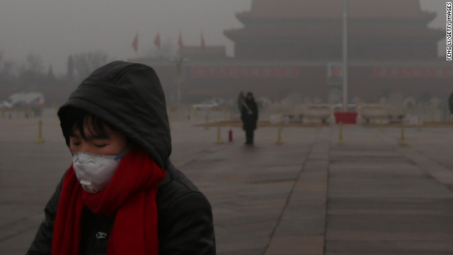 A pedestrian wears a mask at Tiananmen Square as protection from severe pollution on Thursday, January 31, 2013, in Beijing. It's the fourth time this year that a heavy blanket of smog has affected eastern China, including the capital. The air quality has reached hazardous levels, and residents were encouraged to avoid outdoor activities. <a href='http://edition.cnn.com/video/#/video/world/2013/01/31/mr-beijing-smog.cnn' target='_blank'>Watch a video explaining the hazardous smog.</a>