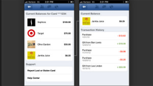 Facebook Card allows you to see the various gift balances in the mobile app. 