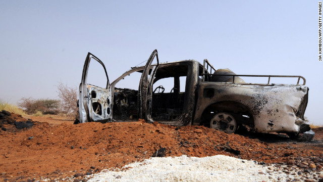 French air strikes destroyed this vehicle outside the northern Malian city of Gao.