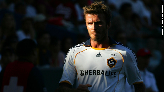 Beckham, No. 23 of the Los Angeles Galaxy soccer team, walks toward the line judge to have a chat during Game 1 of the MLS Western Conference Semifinals against Chivas USA in 2009.