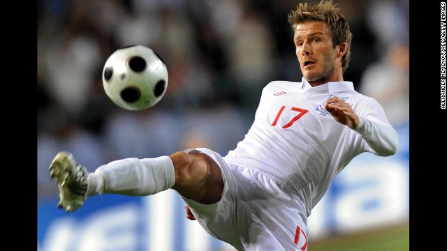 Beckham controls the ball during a 2010 World Cup qualifier.