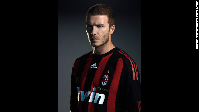 Beckham reveals his new No. 32 Adidas jersey as part of an announcement of the start of his loan move to AC Milan from the Los Angeles Galaxy in 2008.