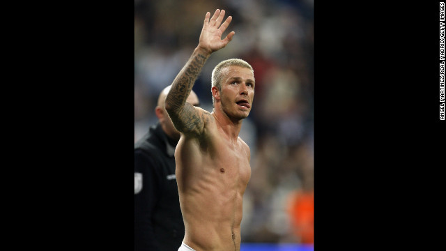 Becks waves after a la Liga match between Real Madrid and Deportivo La Coruna in Madrid in 2007.