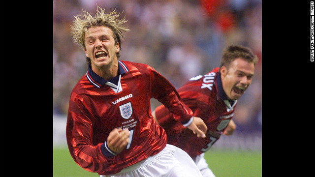 Beckham celebrates his goal in the 1998 World Cup Finals versus Colombia in 1998.