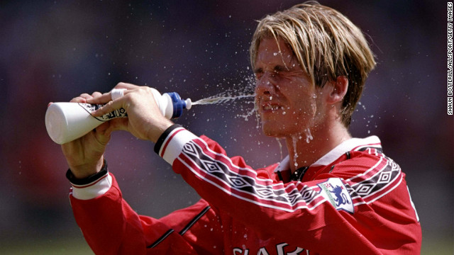 Becks as a member of Manchester United cools down during the FA Charity Shield match against Arsenal at Wembley Stadium in London in 1998.