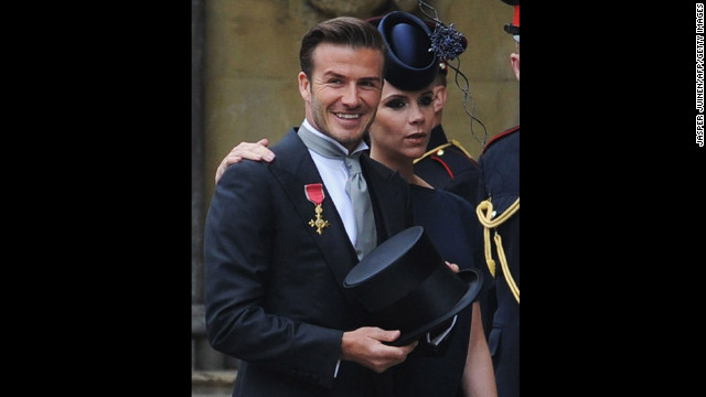 David and Victoria Beckham arrive at the wedding of Prince William and Kate Middleton at Westminster Abbey in 2011.
