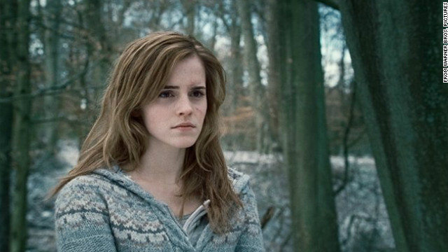 Emma Watson plays Hermione Granger in the 2010 film adaptation of &quot;Harry Potter and the Deathly Hallows&quot; by J.K. Rowling.