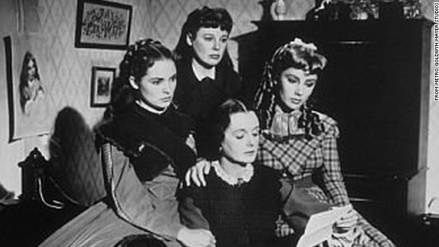 A still from the 1949 film adaptation of Louisa May Alcott's &quot;Little Women.&quot; From left to right: Janet Leigh as Meg March, June Allyson as Jo March, Elizabeth Taylor as Amy Marsh and Mary Astor as Marmee.