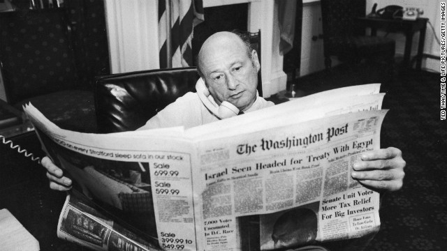 Koch reads The Washington Post during a newspaper strike in New York in 1978.