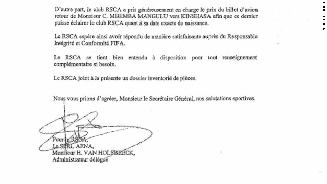 In April 2012, Anderlecht confirmed in a letter to FIFA that Mbemba had been sent back to Kinshasa, but later that year he returned to the Brussels club. The Belgian FA confirmed that this document is geniune.
