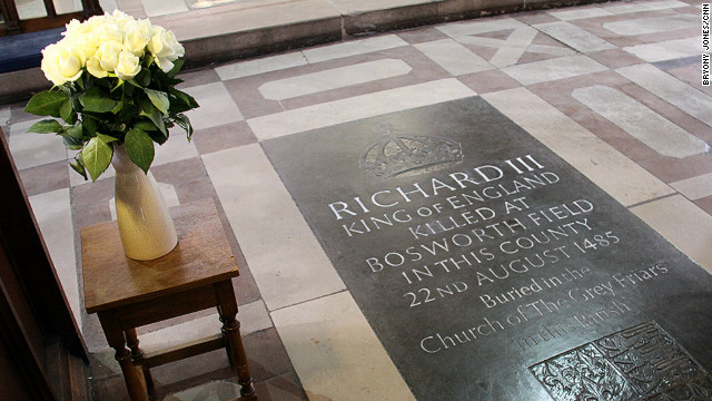 White roses at the memorial to Richard III in Leicester Cathedral. The monarch was buried nearby
