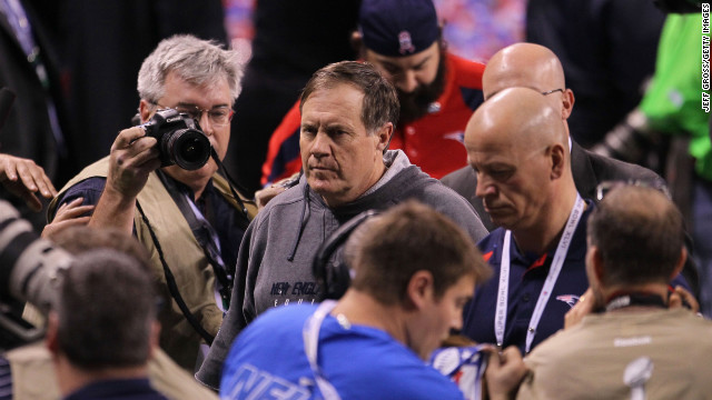 The Buffalo Bills, Denver Broncos, Minnesota Vikings, and New England Patriots have each lost the Super Bowl four times. Here, New England head coach Bill Belichick walks off the field after losing to the New York Giants during Super Bowl XLVI.