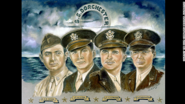 Four military chaplains were on board the World War II military transport ship S.S. Dorchester when it was sunk by a German torpedo on February 3, 1943. As the ship was going down, the men gave their life jackets to young soldiers who had none.