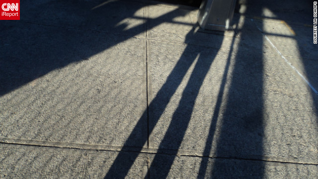 iReporter Lia Ocampo took this photo of her shadow outside her home in Queens, New York.