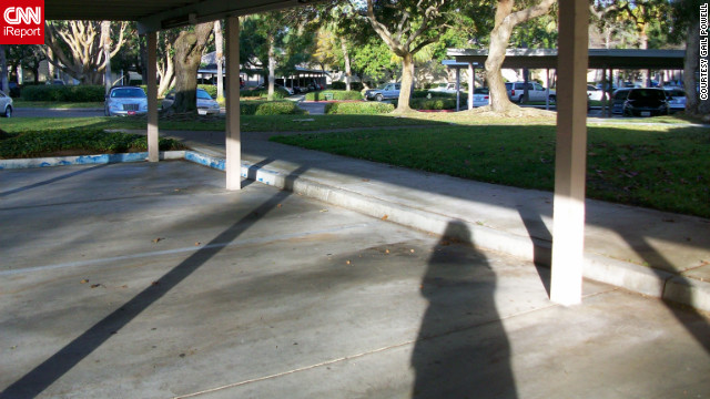"iReporter Gail Powell captured her shadow in San Diego, California. ""I swim in my pool for exercise every day, rain or shine. so I am good with whatever the weather brings,"" she said."