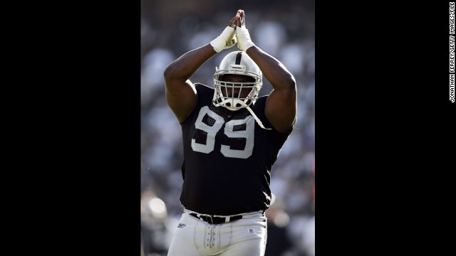 Warren Sapp of the Oakland Raiders celebrates during the game against the Arizona Cardinals in 2006 in Oakland, California. Sapp is a 2013 Hall of Fame pick.