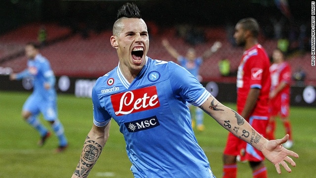 Marek Hamsik celebrates scoring the opening goal in Napoli's 2-0 win against Catania.