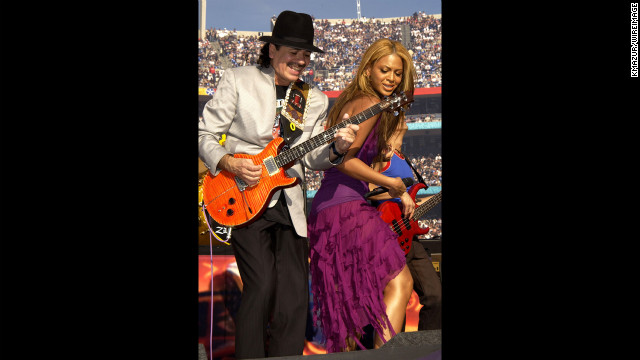 A decade before she wowed viewers at the 2013 Super Bowl Halftime Show, Bey jammed with Carlos Santana during the Super Bowl XXXVII Pregame Show in San Diego on January 26, 2003.