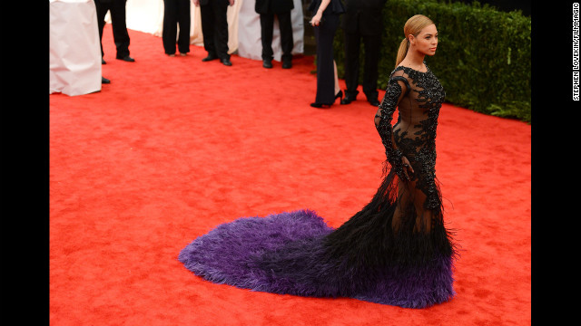 Just months after giving birth, Beyonce was red carpet ready at the Costume Institute Gala at the Metropolitan Museum of Art in New York on May 7, 2012.