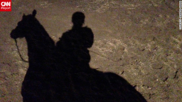 "iReporter Jennifer Hainin took this shadow photo of her on her horse. ""It would be great for spring to come early, as long as that doesn't mean that summer comes sooner,"" she said."