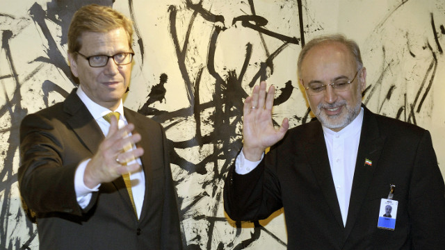 German Foreign Minister Guido Westerwelle, left, and Iran's Ali Akbar Salehi, pose for a photo in Munich, Germany, on Saturday.