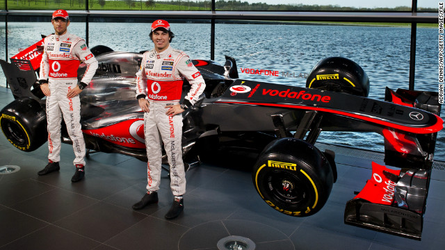 British team McLaren unveiled its car on January 31. New driver Sergio Perez (right) poses with 2009 world champion Jenson Button and the new MP4-28.