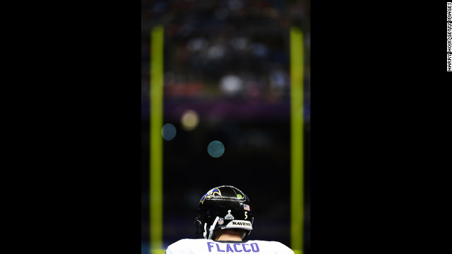 Quarterback Joe Flacco of the Baltimore Ravens stands on the field prior to kickoff against the San Francisco 49ers.