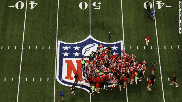 The 49ers huddle on the field prior to taking on the Baltimore Ravens in Super Bowl XLVII.