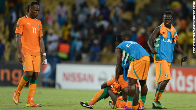 The Ivory Coast's veteran captain Didier Drogba (left) had been hoping to win the continent's title for the first time.
