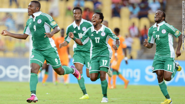 Emmanuel Emenike, left, celebrates after putting Nigeria 1-0 ahead against Ivory Coast in the Africa Cup of Nations quarterfinal at Royal Bafokeng Stadium in Rustenburg, South Africa.