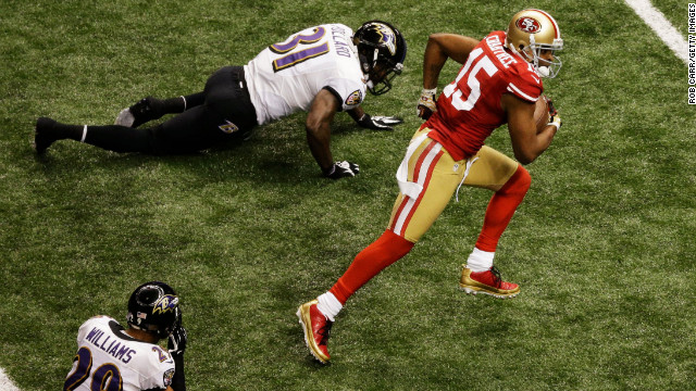 Michael Crabtree of the San Francisco 49ers runs into the end zone on a 31-yard touchdown reception in the third quarter.