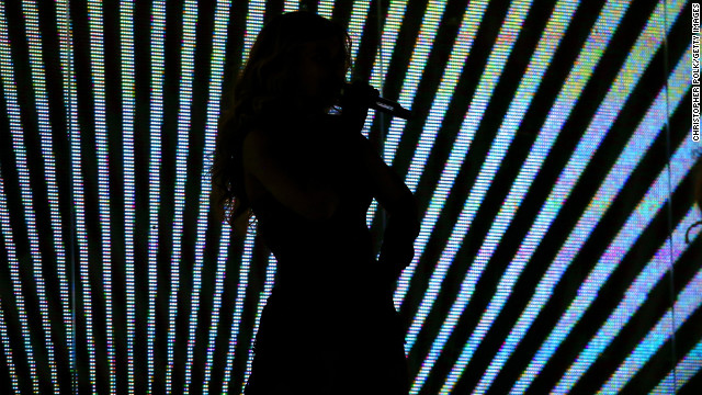 A silhouette of Beyonce performing during the Pepsi Super Bowl XLVII Halftime Show at Mercedes-Benz Superdome in New Orleans, Louisiana. 