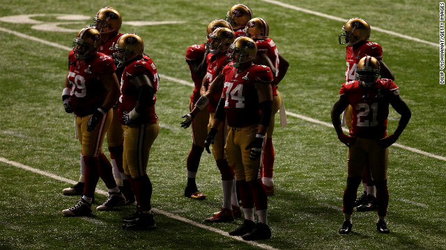 The San Francisco 49ers wait for all the power to come back to the Superdome.