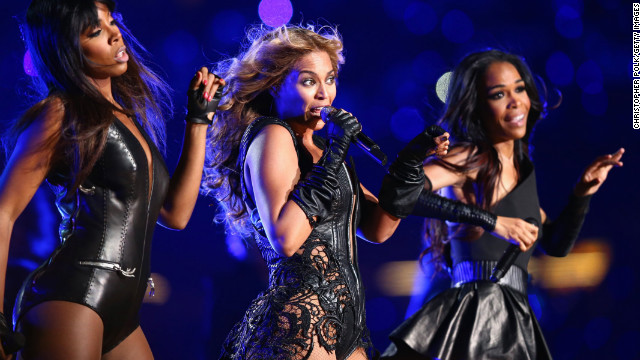 Kelly Rowland, Beyonce Knowles and Michelle Williams of Destiny's Child perform during the Pepsi Super Bowl XLVII Halftime Show.