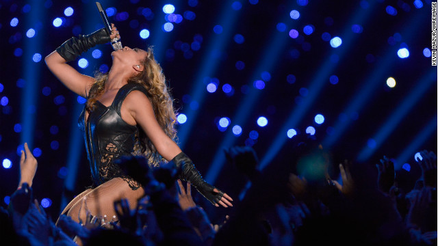 Beyonce hits a high note during the Halftime Show.