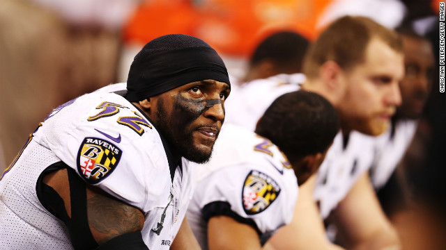 Ray Lewis of the Baltimore Ravens watches from the bench during the third quarter.