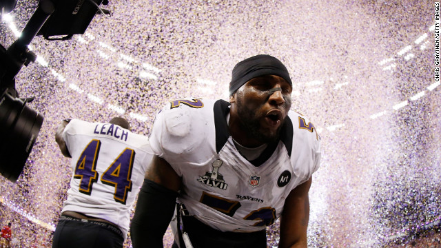 The Ravens' Ray Lewis celebrates his team's win.