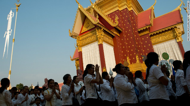 Thousands of Cambodians enter the crematorium where a coffin bearing the remains of Cambodia's late king Norodom Sihanouk is placed near the Royal Palace in Phnom Penh on Monday. 