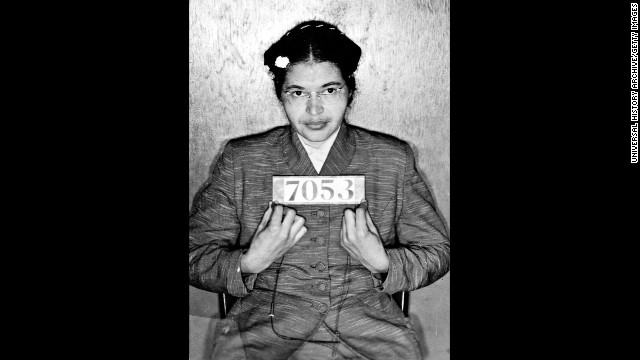 Parks sits for her booking photo after her arrest for refusing to give up her bus seat on December 1, 1955. She was later convicted of disorderly conduct.