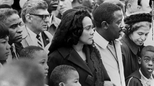 Parks, far right, joins Coretta Scott King, left, the widow of the Rev. Martin Luther King Jr., and the Rev. Ralph Abernathy as they lead 19,000 people on a march through downtown Memphis, Tennessee, on April 8, 1968, four days after King's death.