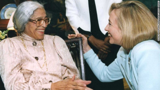 Hillary Clinton greets Parks at the White House.