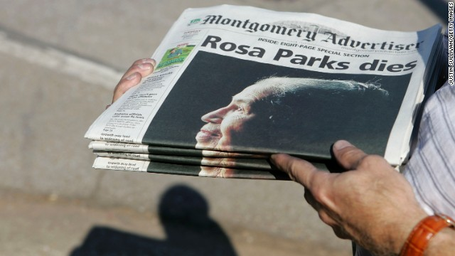 Free copies of a commemorative issue of The Montgomery Advertiser get handed out before a memorial service for Parks on October 28, 2005, in Montgomery. Parks had died four days earlier at age 92.