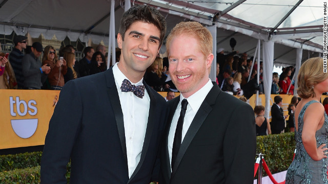 """Modern Family's"" Jesse Tyler Ferguson, 37, right, announced his engagement to 27-year-old lawyer Justin Mikita in September."