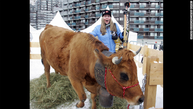 Kildow poses with her trophy, a cow, in Val d'Isere, France, after winning her second World Cup in the women's downhill event on December 17, 2005.