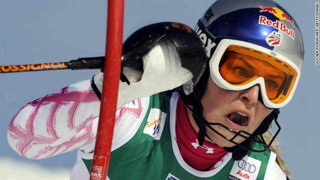 Vonn competes in the women's slalom first run on March 13, 2009, at the Ski World Cup finals in Are, Spain.