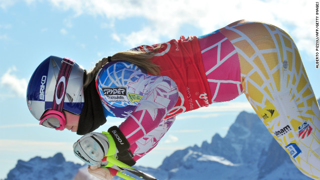 Vonn starts in the FIS World Cup women's downhill training on January 13, 2012, in Cortina d'Ampezzo.