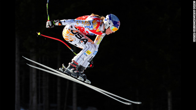 Vonn makes a jump during the FIS World Cup women's downhill in Tarvisio on March 5, 2011. Vonn won the downhill World Cup title for the fourth year in a row.