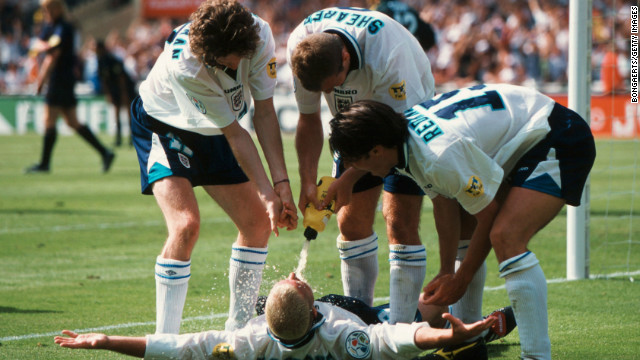 Gascoigne's celebrations after a famous goal against Scotland in Euro 96 mimicked an earlier infamous drinking incident.